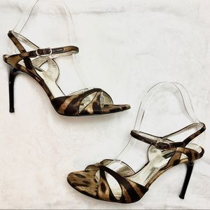 DOLCE&GABBANA Satin Leopard Strappy Sandals